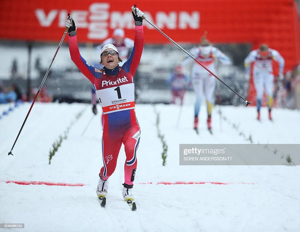 Maiken Caspersen Falla of Norway celebrates winnig the final the women's World Cup classic Royal Palace sprint in central Stockholm on February 11, 2016 / AFP / TT News Agency / Soren Andersson/TT / Sweden OUT