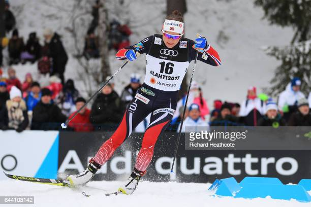 Maiken Caspersen Falla of Norway competes in the Women's 14KM Cross Country Sprint qualification round during the FIS Nordic World Ski Championships...
