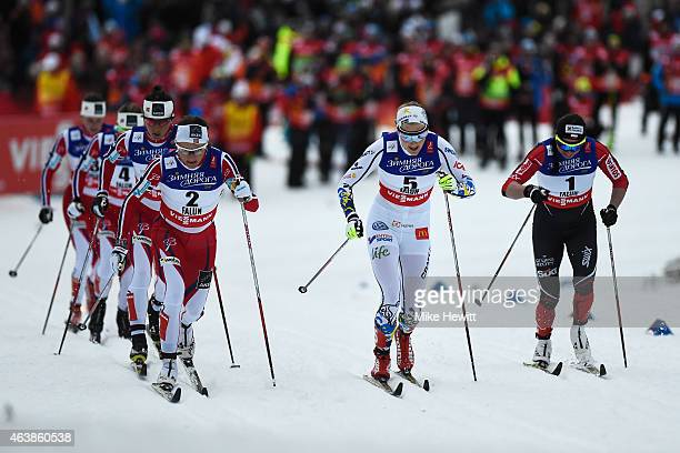 Maiken Caspersen Falla of Norway leads from Stina Nilsson of Sweden and Justyna Kowalczyk of Poland during the Women's CrossCountry Sprint Final...