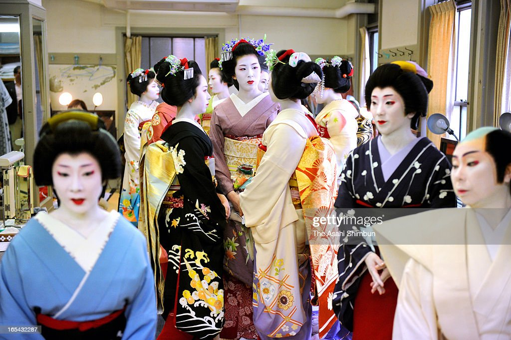 Maiko and Geiko attend fitting session of their costumes that are used at Kamogawa Odori performance at Pontocho Kaburenjo Theater on April 4, 2013 in Kyoto, Japan. The performance will be held on May 1 to May 24 this year.