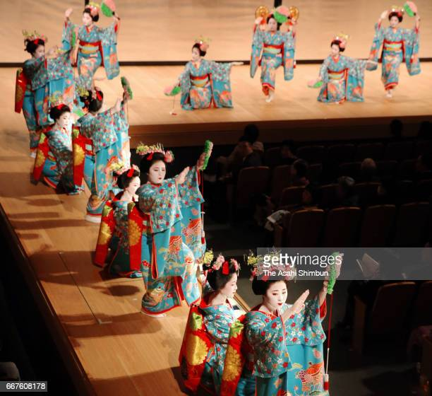 Maiko and Geiko practice their dance move during the 'Miyako Odori' rehearsal at the Shunjuza hall of Kyoto Art Theater of Kyoto University of Art...