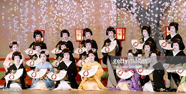 Maiko attend the photo session for the 'Kitano Odori' spring performance at Kamishichiken Kaburenjo Theatre on February 17 2016 in Kyoto Japan The...