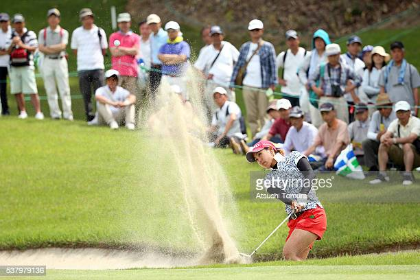 Maiko Wakabayashi of Japan hits from a bunker on the 17th hole during the second round of the Yonex Ladies Golf Tournament 2016 at the Yonex Country...