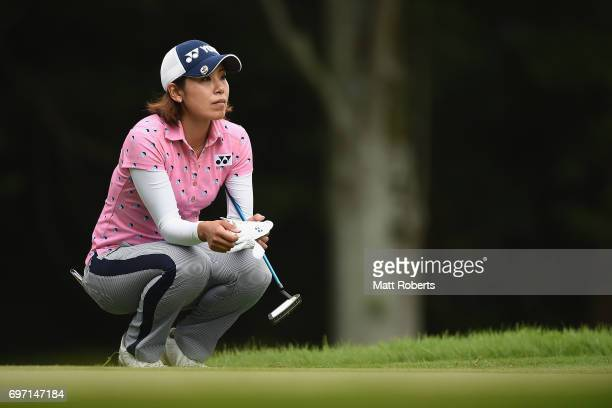 Maiko Wakabayashi of Japan waits to putt on the 5th green during the final round of the Nichirei Ladies at the on June 18 2017 in Chiba Japan