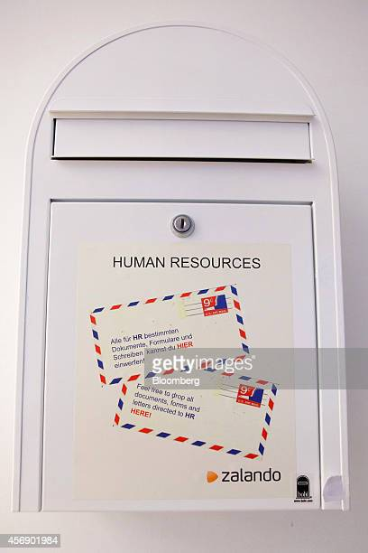 A mail box for internal human resources company communications stands at the headquarters of online fashion retailer Zalando SE in Berlin Germany on...
