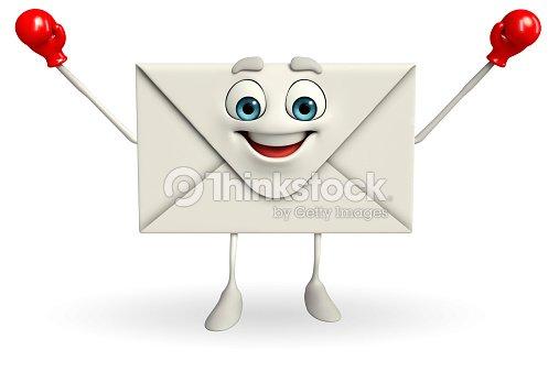 Car cter de correo con guantes de boxeo foto de stock for Correo postal mas cercano