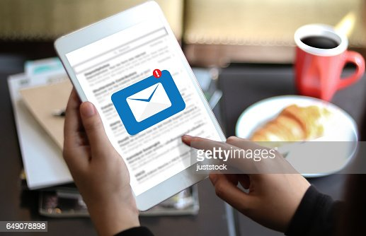 Mail Communication Connection message to mailing contacts phone Global Letters Concept : Stock Photo