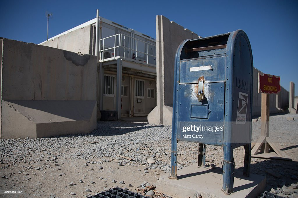 Mail post box is seen near the US accommodation blocks at Kandahar airfield on November 14 2014 in Kandahar Afghanistan Now that British combat...