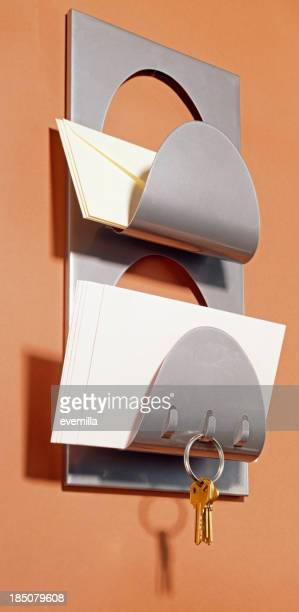 Mail Rack with hooks for keys on brown