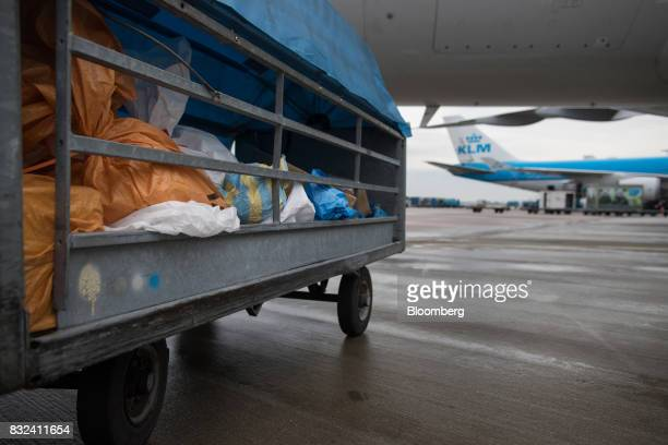 Mail sacks and packages sit in a trailer as aircraft operated by KLM the Dutch arm of Air FranceKLM Group stand on the tarmac at Schiphol airport in...