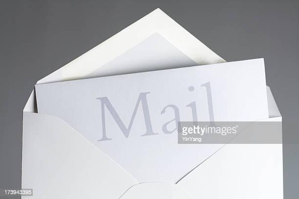 メール本文内でのテキストオープンホワイトのエンベロープ、メッセージを伝える