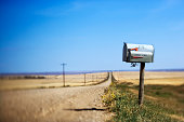 Mailbox on dirt road, Montana