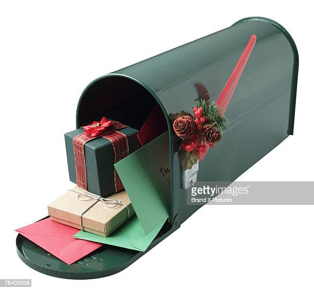 Mailbox stuffed with cards and gifts