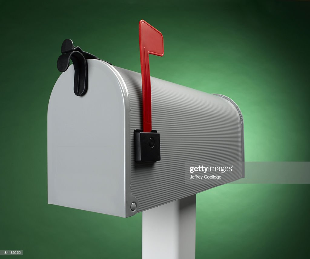 Mailbox with flag up : Stock Photo