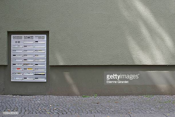 Mailboxes in the front courtyard of an apartment building