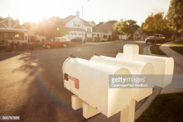 Mailboxes on suburban street