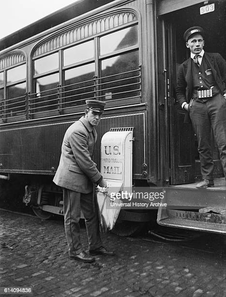 Mailman Collecting Mail from Mailbox on Train USA circa 1921