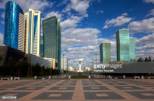 Main Astana boulevard with Bayterek tower