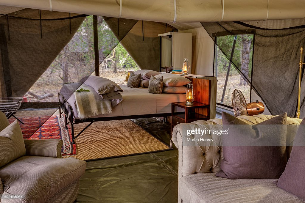 Main bedroom of luxury family tent  Machaba Camp  Okavango Delta  Botswana    Stock. Main Bedroom Of Luxury Family Tent Machaba Camp Okavango Delta