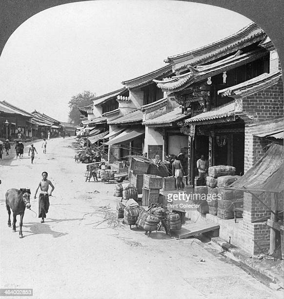 Main business street of the Chinese quarter Bhamo Burma 1908 Located in northern Burma Bhamo is 65 miles west of the border with the Chinese province...