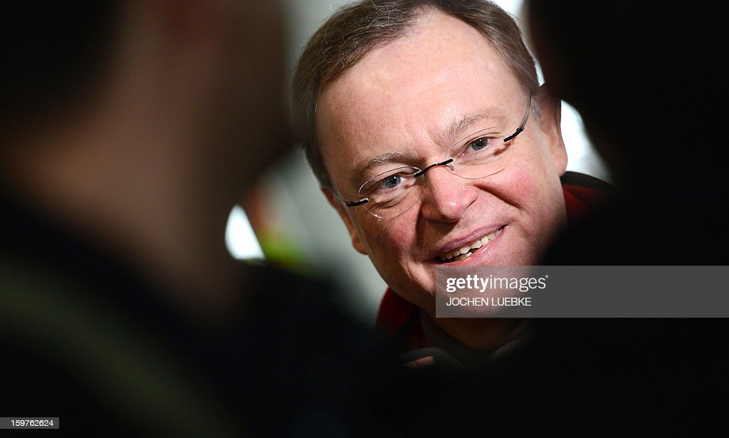 Main candidate for the Social Democratic Party (SPD), Stephan Weil is pictured after he casted his ballot at a polling station in Hanover (Lower Saxony) on January 20, 2013. The vote is largely seen as a test run for autumn's federal election in September. AFP PHOTO / JOCHEN LUEBKE GERMANY OUT