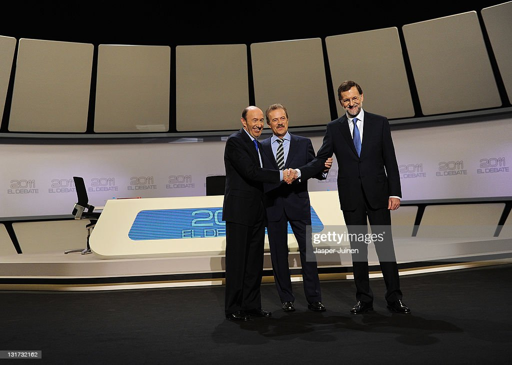 Mariano Rajoy And Alfredo Perez Rubalcaba Meet Face To Face For El Debate 2011