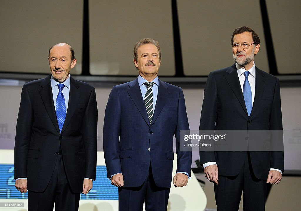 Main candidates for the Spanish general elections Mariano Rajoy of the Popular Party and Alfredo Perez Rubalcaba of the Socialist Party pose prior to...