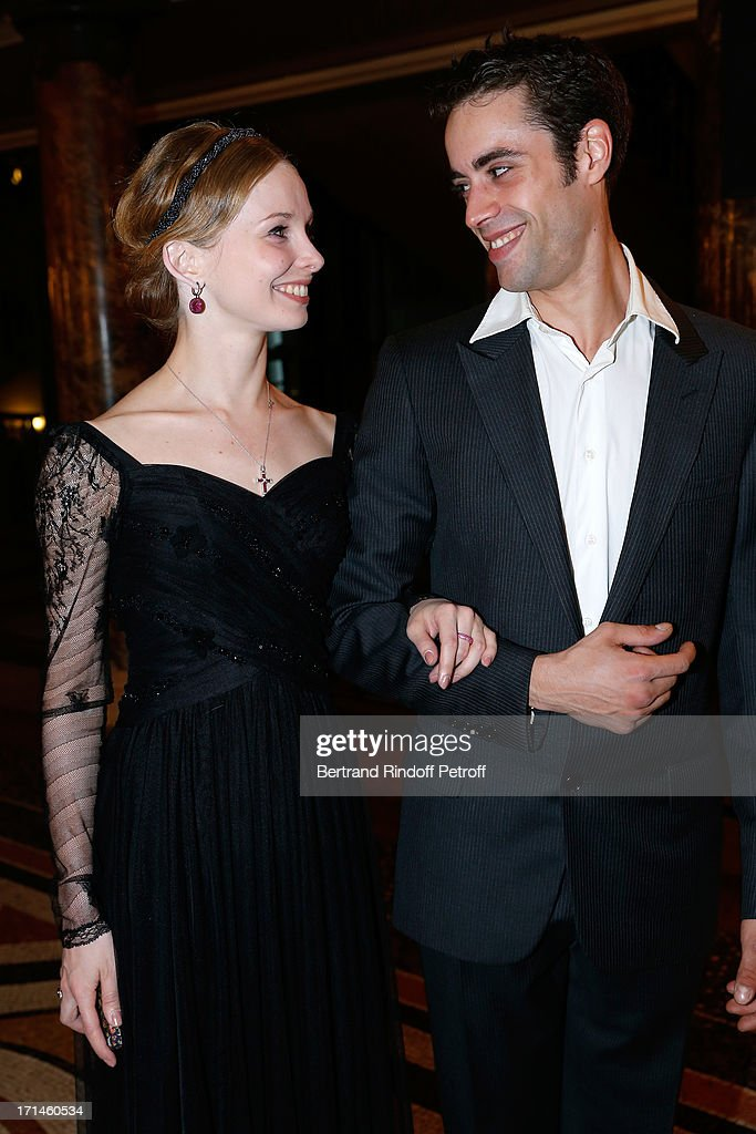 Main Dancer of Bolchoi Evgenia Obrastzova and Dancer Mathias Heymann attend Gala of AROP at Opera Garnier with representation of 'La Sylphide' on June 24, 2013 in Paris, France.