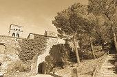 Main entrance of the monastery of Sant Pere de Rodes in Cap de Creus Natural Park, in the municipality of El Port de la Selva. Girona, Catalonia, Spain