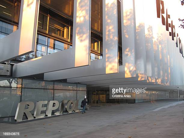Main entrance of the new headquarters of oil company Repsol in Madrid designed by the architectural firm Rafael de la Hoz houses the corporate campus...