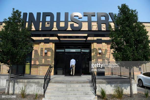 Main entrance to Industry Denver a coworking space along Brighton Blvd September 08 2017