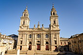 Main facade of St Mary's catholic cathedral in the historic city of Lugo, Galicia, northwestern Spain.