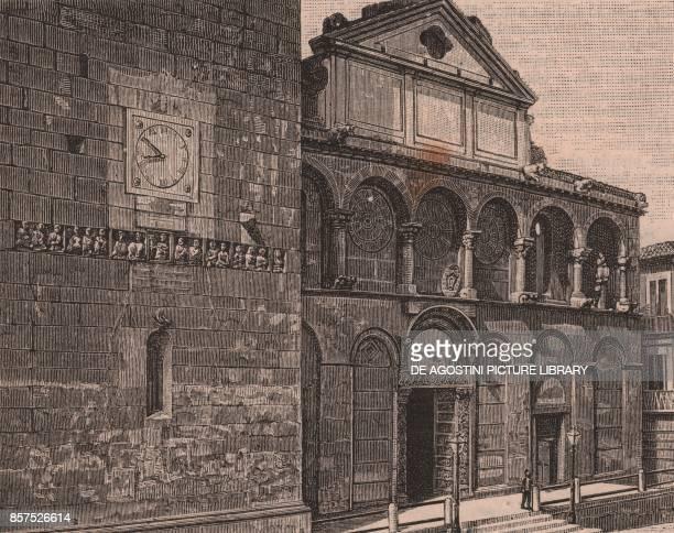 Main facade of the cathedral of Santa Maria de Episcopio Benevento Campania Italy woodcut from Le Cento citta d'Italia illustrated monthly supplement...