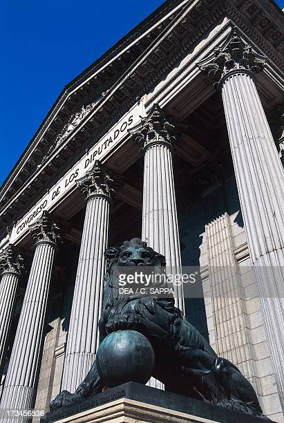 Main facade of the House of the Deputies seat of the Spanish Parliament Madrid Spain