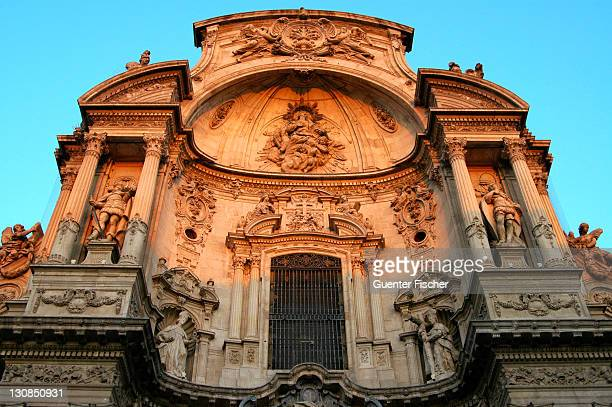Main fassade Baroquial cathedral Murcia Spain