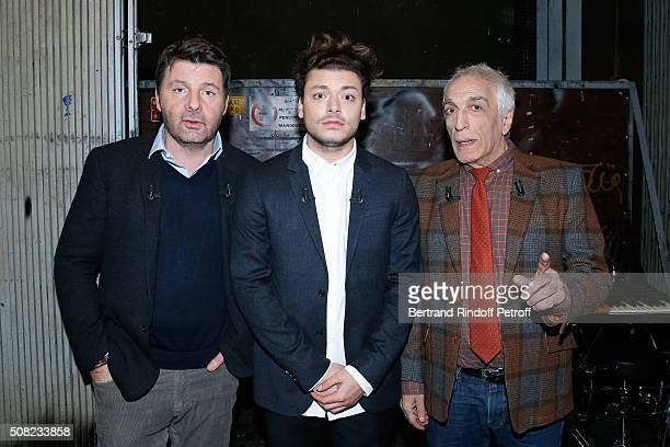 Main Guest of the Show Actor and Humorist Kev Adams standing between Actors Philippe Lellouche and Gerard Darmon attend the 'Vivement Dimanche'...