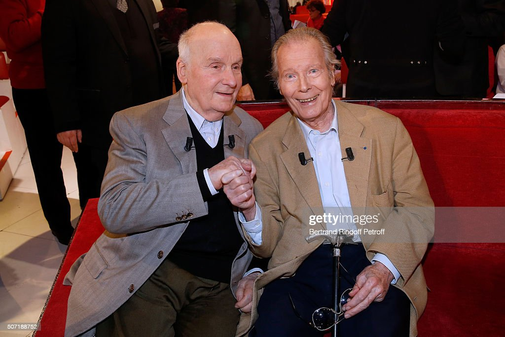 Main Guest of the show Actor Michel Bouquet and Actor Jean Piat attend the 'Vivement Dimanche' French TV Show at Pavillon Gabriel on January 27, 2016 in Paris, France.