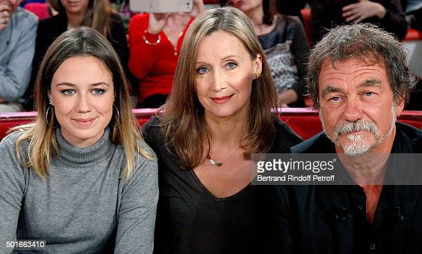 Main Guest of the Show actor Olivier Marchal his wife Catherine Marchal and their daughter Zoe Marchal attend the 'Vivement Dimanche' French TV Show...
