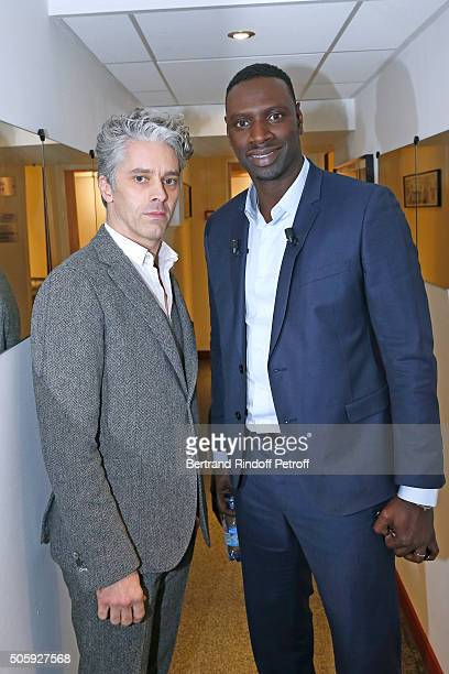 Main guest of the show Actor Omar Sy and Actor James Thierree present the movie 'Chocolat' during the 'Vivement Dimanche' French TV Show at Pavillon...