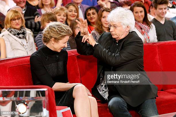 Main guest of the show Actress Alexandra Lamy and Director JeanJacques Annaud who presents his movie 'Le dernier Loup' attend the 'Vivement Dimanche'...