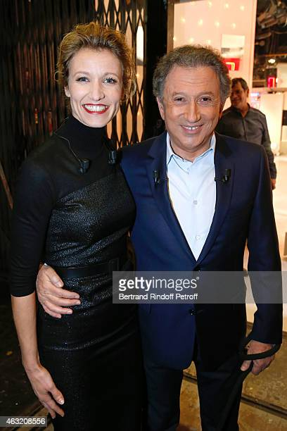 Main guest of the show Actress Alexandra Lamy and Presenter of the show Michel Drucker attend the 'Vivement Dimanche' French TV Show Held at Pavillon...