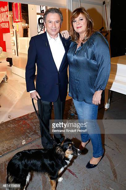 Main guest of the show Actress Michele Bernier with Michel Drucker and his dog attend 'Vivement Dimanche' French TV Show Held at Pavillon Gabriel on...