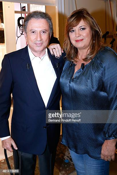 Main guest of the show Actress Michele Bernier with Michel Drucker attend 'Vivement Dimanche' French TV Show Held at Pavillon Gabriel on January 8...