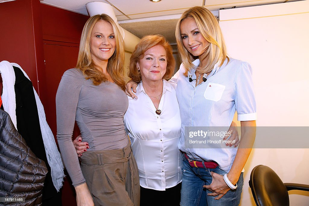 Main guest of the show Adriana Karembeu (R), her mother Zlatica (C) and her sister Natalia (L) attend the 'Vivement Dimanche' French TV Show, held at Pavillon Gabriel on November 13, 2013 in Paris, France.