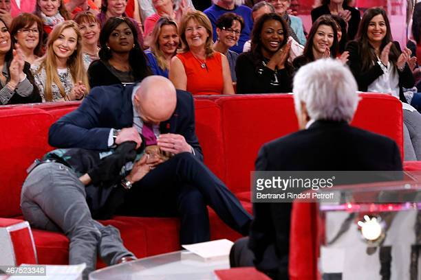 Main guest of the show Humorist Jamel Debbouze Former Football player Frank Leboeuf and actor Gerard Darmon attend the 'Vivement Dimanche' French TV...