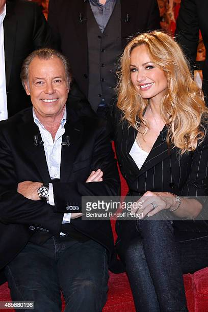 Main guest of the show Humorist Michel Leeb and Adriana Karembeu attend the 'Vivement Dimanche' French TV at Pavillon Gabriel on March 11 2015 in...