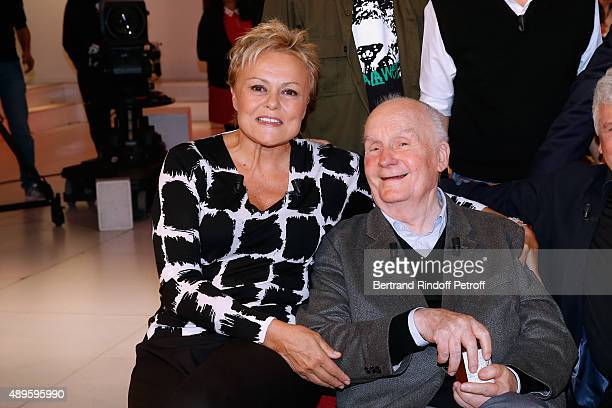 Main Guest of the Show Humorist Muriel Robin and her former Professor of Drama Actor Michel Bouquet attend the 'Vivement Dimanche' French TV Show at...