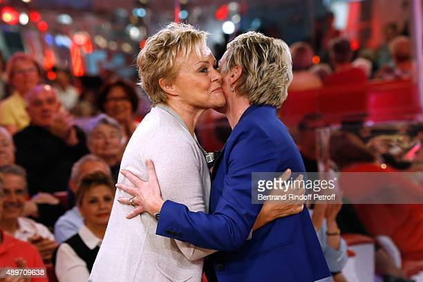 Main Guest of the Show Humorist Muriel Robin and Journalist Elise Lucet attend the 'Vivement Dimanche' French TV Show at Pavillon Gabriel on...