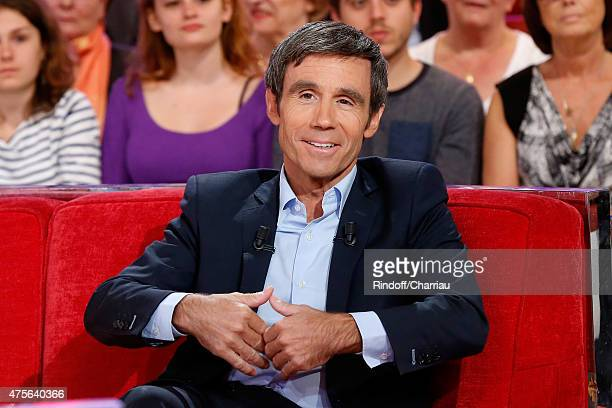 Main Guest of the show Journalist David Pujadas attends the 'Vivement Dimanche' French TV Show at Pavillon Gabriel on June 2 2015 in Paris France
