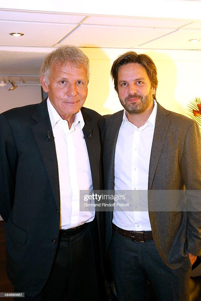 Main Guest of the Show, Journalist Patrick Poivre d'Arvor and his son Producer Arnaud Poivre d'Arvor attend the 'Vivement Dimanche' French TV Show at Pavillon Gabriel on October 28, 2015 in Paris, France.